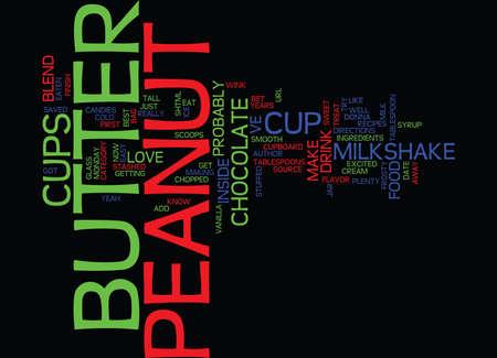 BEST RECIPES PEANUT BUTTER CUP MILKSHAKE Text Background Word Cloud Concept