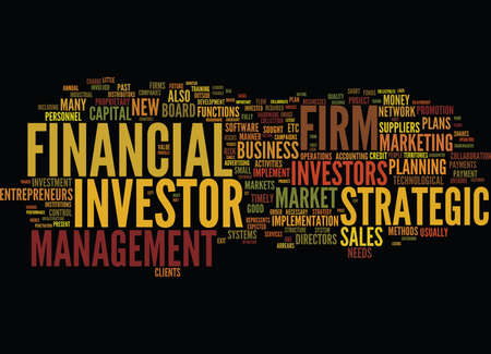 FINANCIAL INVESTOR STRATEGIC INVESTOR Text Background Word Cloud Concept