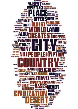 Concetto di nube di parola di viaggio di viaggio di fondo di testo egiziano