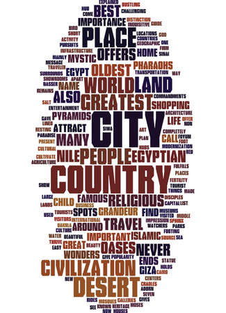 EGYPTIAN TRAVEL GUIDE Text Background Word Cloud Concept