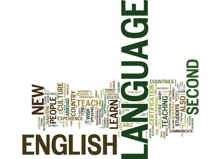 ENGLISH AS A SECOND LANGUAGE Text Background Word Cloud Concept Иллюстрация