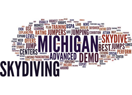 BEST MICHIGAN SKYDIVE CENTERS Text Background Word Cloud Concept Stock Vector - 82608358