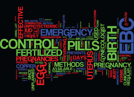 EMERGENCY BIRTH CONTROL AN OVERVIEW Text Background Word Cloud Concept