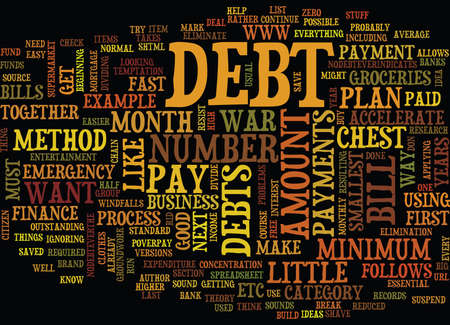 ELIMINATE DEBT FAST Text Background Word Cloud Concept Ilustração