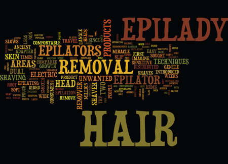 EPILADY HAIR REMOVAL INNOVATOR Text Background Word Cloud Concept