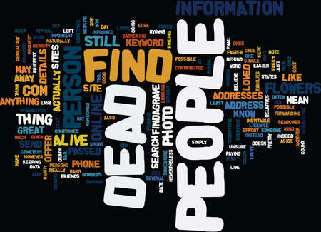 mentioned: FIND DEAD PEOPLE Text Background Word Cloud Concept