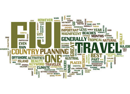 FIJI TRAVEL Text Background Word Cloud Concept Illusztráció