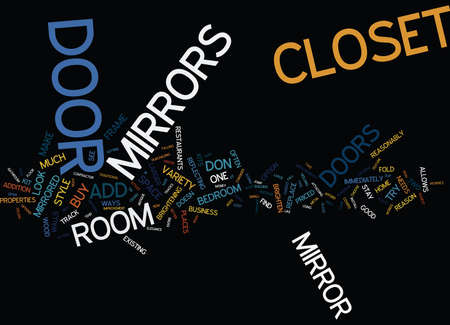 ENHANCE YOUR ROOM WITH A CLOSET DOOR MIRROR Text Background Word Cloud Concept Illustration