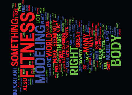 FITNESS MODEL Text Background Word Cloud Concept Illustration