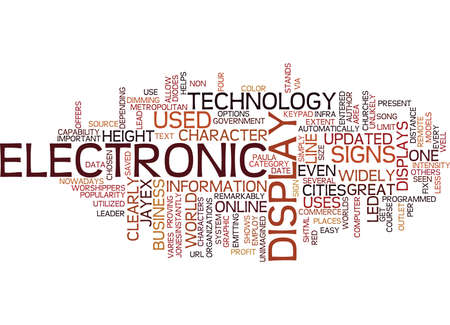 ELECTRONIC DISPLAY SIGNS Text Background Word Cloud Concept 向量圖像