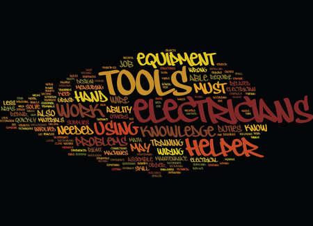 ELECTRICIANS HELPER Text Background Word Cloud Concept 向量圖像