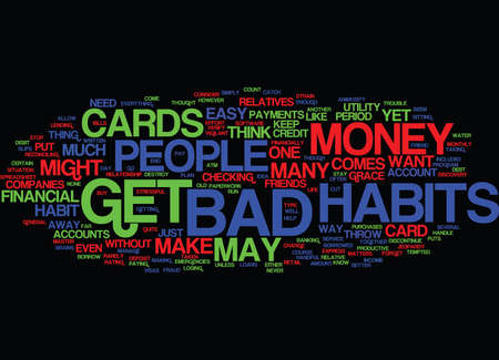 FINANCIAL BAD HABITS Text Background Word Cloud Concept Illusztráció