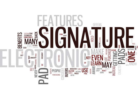 ELECTRONIC SIGNATURE PAD Text Background Word Cloud Concept
