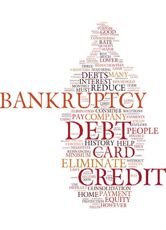 become: ELIMINATE CREDIT CARD DEBT REDUCE DEBT WITHOUT BANKRUPTCY Text Background Word Cloud Concept