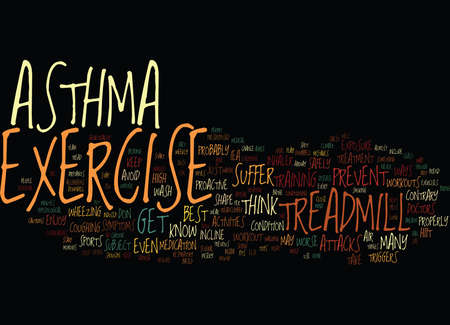 EXERCISE AND ASTHMA Text Background Word Cloud Concept Ilustração
