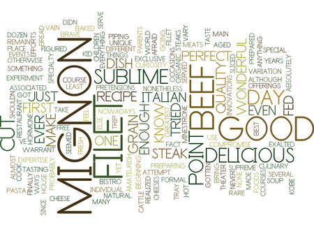 FILET MIGNON Text Background Word Cloud Concept Иллюстрация