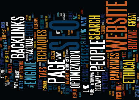 ETHICAL SEO Text Background Word Cloud Concept Illustration