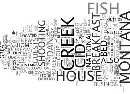 FISH CREEK HOUSE BED AND BREAKFAST A CHILDHOOD DREAM COME TRUE Text Background Word Cloud Concept