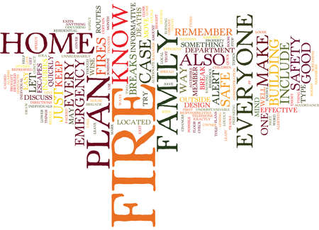 FIRE SAFETY IN THE HOME Text Background Word Cloud Concept