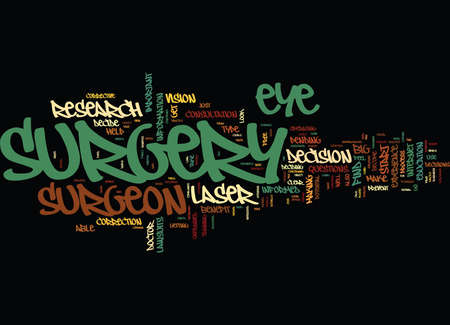 FIND OUT ABOUT LASER EYE SURGERY BEFORE YOU DECIDE TO GET IT DONE Text Background Word Cloud Concept Illustration