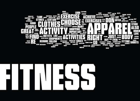 FITNESS EQUIPMENT APPAREL Text Background Word Cloud Concept
