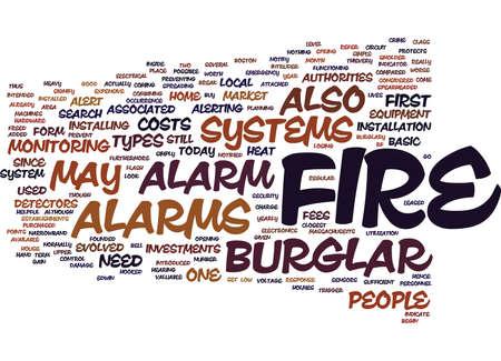 FIRE BURGLAR ALARM Text Background Word Cloud Concept