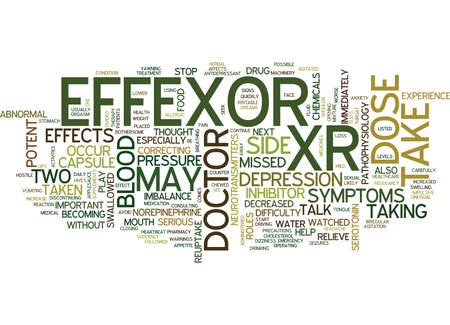 antidepressants: EFFEXOR XR IS A POTENT INHIBITOR Text Background Word Cloud Concept Illustration