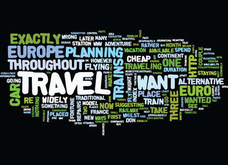EURO TRAVEL Text Background Word Cloud Concept