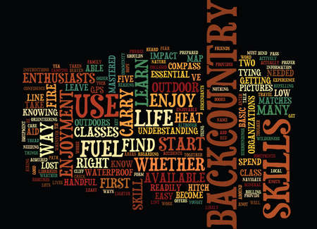 FIVE LIFE SKILLS FOR BACKCOUNTRY ENJOYMENT Text Background Word Cloud Concept