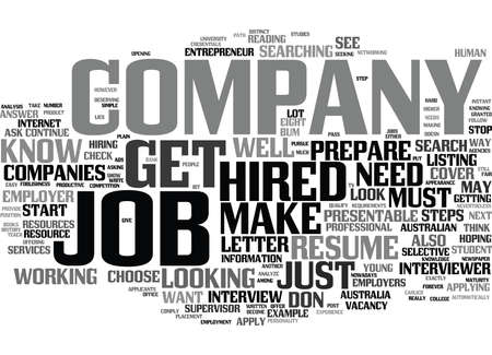 know: EIGHT STEPS ON HOW TO GET HIRED Text Background Word Cloud Concept