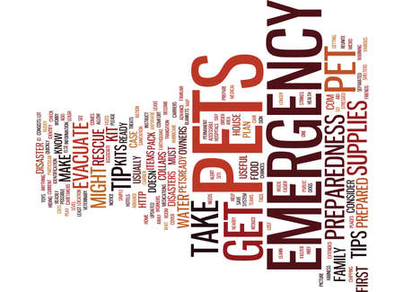 EMERGENCY PREPAREDNESS TIPS FOR PET OWNERS Text Background Word Cloud Concept Illustration