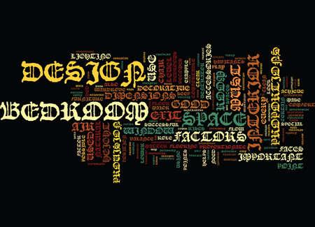ESSENTIAL FACTORS OF A GOOD BEDROOM DESIGN Text Background Word Cloud Concept Illustration