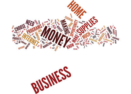 ESSENTIAL HOME BUSINESS SUPPLIES Text Background Word Cloud Concept