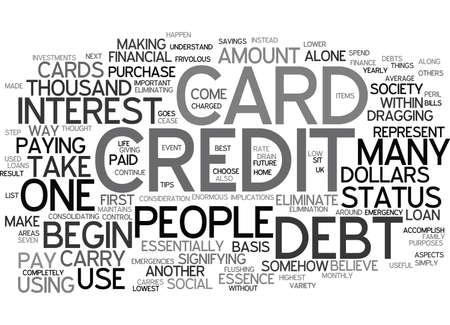 ELIMINATE CREDIT CARD DEBT Text Background Word Cloud Concept