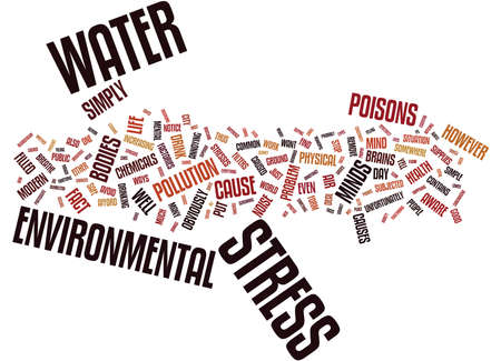 STRESS AMBIENTALE Text Background Word Cloud Concept Vettoriali