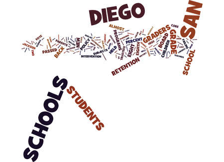 EIGHT GRADERS WHO FAIL WILL BE HELD BACK IN THE SAN DIEGO SCHOOLS Text Background Word Cloud Concept