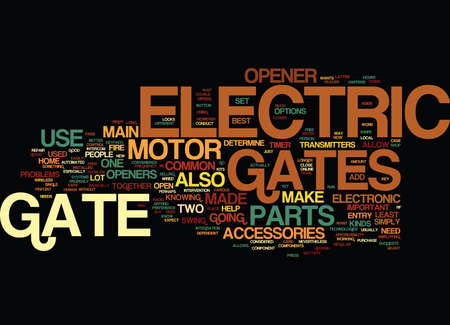 ELECTRIC GATES WHAT ARE THEY MADE OF Text Background Word Cloud Concept