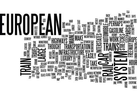 EUROPEAN TRAINS Text Background Word Cloud Concept