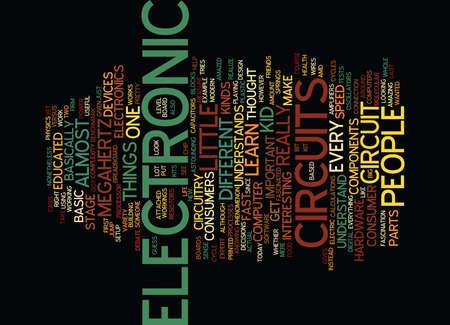 電子回路テキスト背景単語雲概念  イラスト・ベクター素材