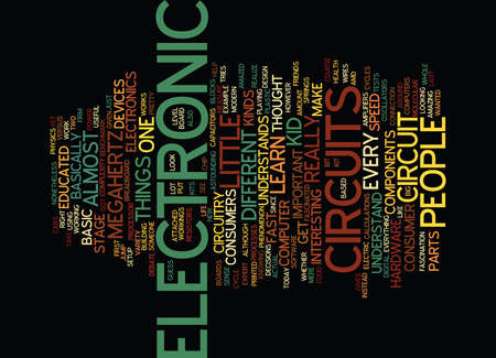 ELECTRONIC CIRCUITS Text Background Word Cloud Concept Иллюстрация