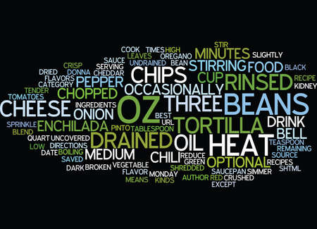 BEST RECIPES THREE BEAN ENCHILADA CHILI Text Background Word Cloud Concept