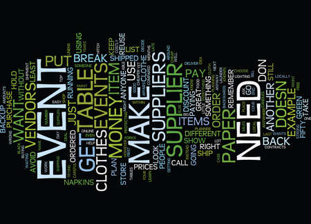 EVENT SUPPLIERS Text Background Word Cloud Concept