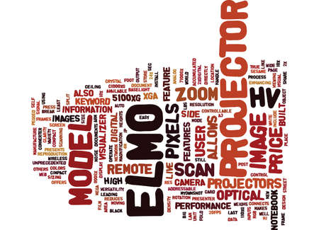 ELMO PROJECTOR Text Background Word Cloud Concept Illustration