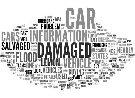 beware: BEWARE OF HURRICANE DAMAGED VEHICLES Text Background Word Cloud Concept