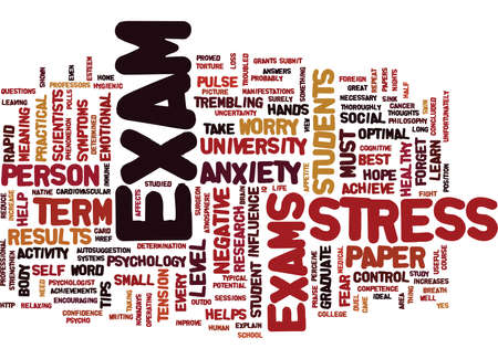 stating: FIGHT THE EXAM STRESS Text Background Word Cloud Concept Illustration