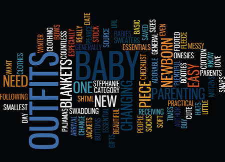 ESSENTIAL BABY CLOTHES Text Background Word Cloud Concept