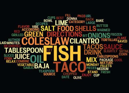 BEST RECIPES BAJA FISH TACOS Text Background Word Cloud Concept