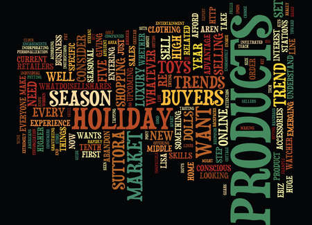 FIVE HOLIDAY TRENDS WHAT EVERY E TAILER SHOULD KNOW Text Background Word Cloud Concept Illustration