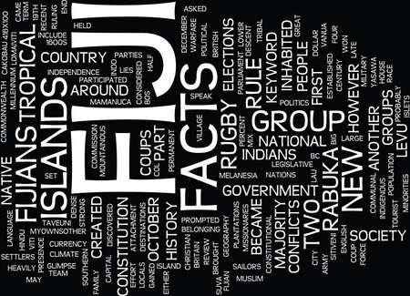 FIJI FACTS Text Background Word Cloud Concept Ilustração