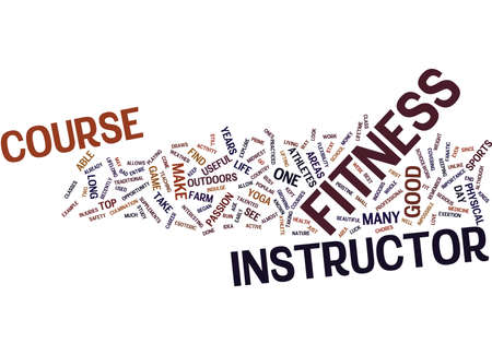 FITNESS INSTRUCTOR COURSE Text Background Word Cloud Concept Фото со стока - 82600954